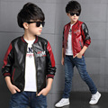 2016 Children Fashion Outerwear Spring Autumn New Patchwork Baby Boys Coats Faux Leather Coat Jacket Children Clothing Top Suit