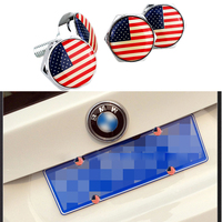 4PCS/Set JDM Car Stickers USA National Flag Metal Alloy Car License Plate Bolts For Amg Logo With Gasket Car Styling Accessory