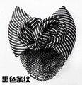 Stylish Women Bow Barrette Hair Clip Cover Bowknot Bun Snood stripe rose flower Hair Accessories