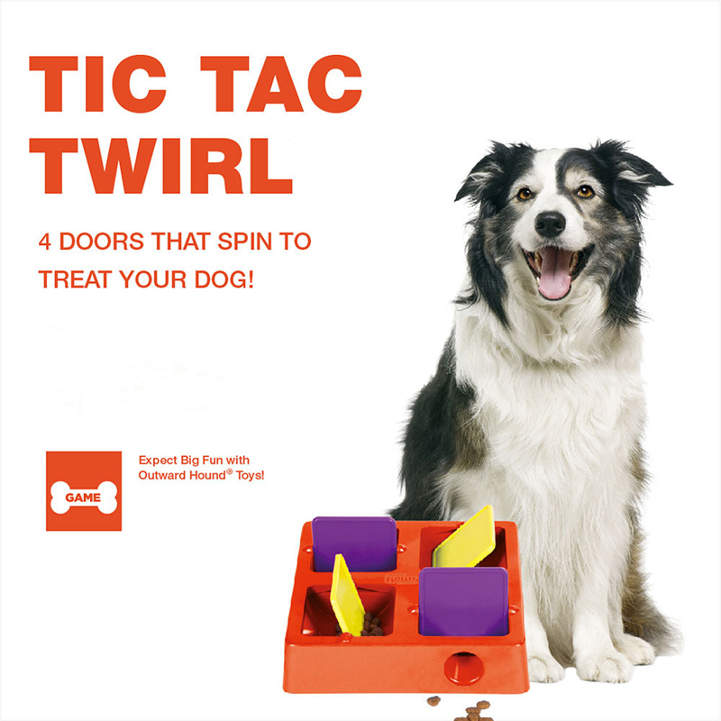 Pet Tic-Tac-Twirl Four Treat Chambers Plastic Treat-Hiding Puzzle Toy Pet Dog Cat Food Slow Feeder Bowl Treat Game Toy
