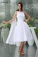 Chiffon A Line High Neck Sleeveless Tea Length Bridesmaid Dresses Wedding Party Dresses Robe De Soiree