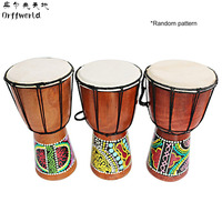 Orff World Djembe Drummer Percussion 6 Inch Classic Painting Wooden African Style Hand Drum For Sale