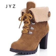 Fashion New Womens Boots Winter High Heels Fur Keep Warm Shoes Platform Pumps Lady Big Size 40 41 42 43 44  wo180801 все цены