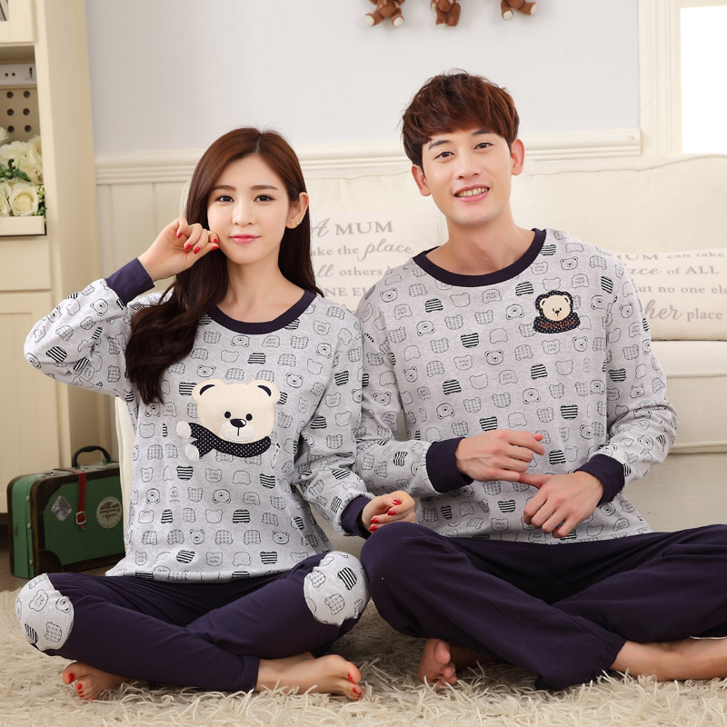 High Quality Full Sleeved Couple Pajama Sets Carton Bear Women Pyjama Fashion Men Pijamas Female Nightgrown