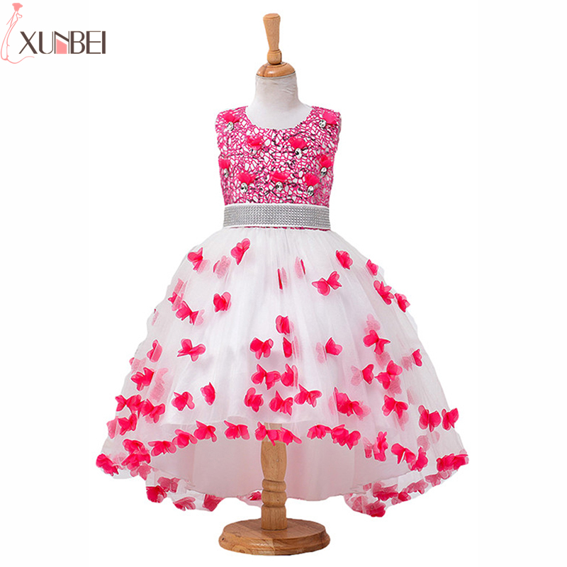 High Low Soft Tulle Lace   Flower     Girl     Dresses   2019 Beaded Sash Kids Evening Gowns Wedding Party   Dresses   Pageant   Dresses   For   Girls