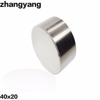 ZHANGYANG 1pcs N42 Neodymium Magnet 40x20 Mm Gallium Metal Super Strong Magnets 40 20 Round Magnet