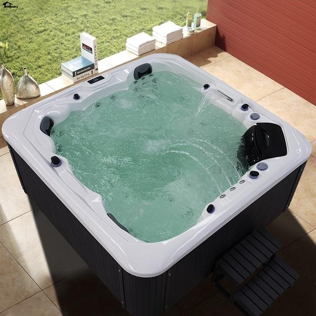 2230mm Hot Tub Tubs Outdoor Bathtub Sap Pool 4 5 Person Whirlpool Bath  Shower WHITE