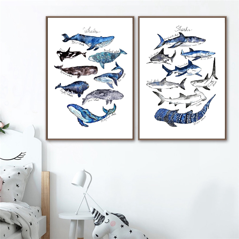 Watercolor Whale Print Nursery Wall Art Canvas Painting Shark Poster Beach Nautical Wall Picture Decor Kids Room Wall Decoration