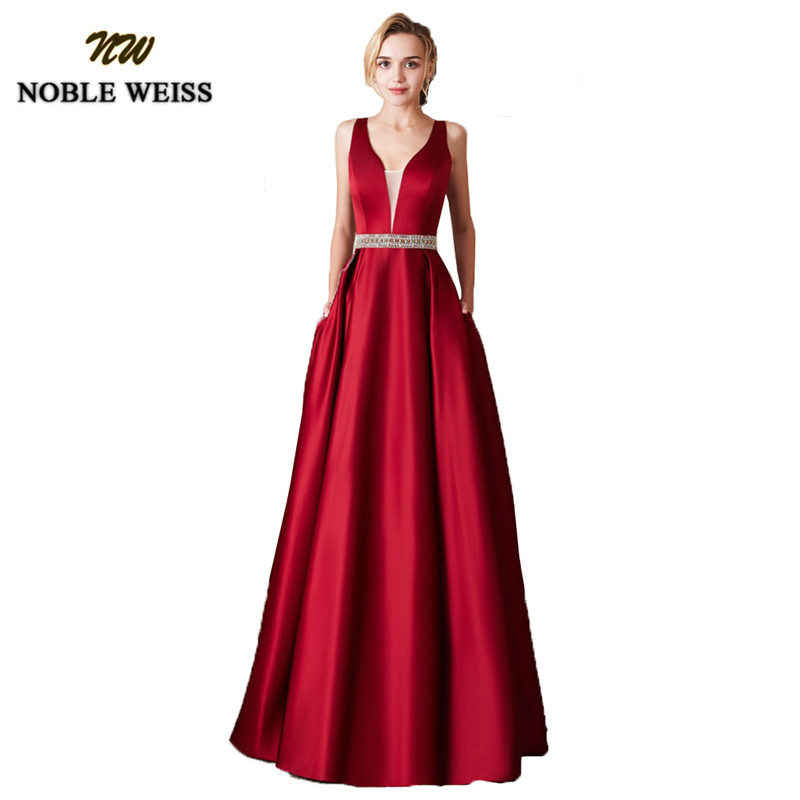 NOBLE WEISS Elegant Satin Red Prom Dresses Long Floor Length Special Occasion Gowns With Sexy V-neck Girls Vestido De Festa