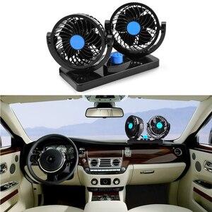 Image 2 - Mini Car Fan 12v Air Circulator 360 Degree Adjustable Rotatable dual Head Summer Car Fan Cooler Usb Plug Car Accessories