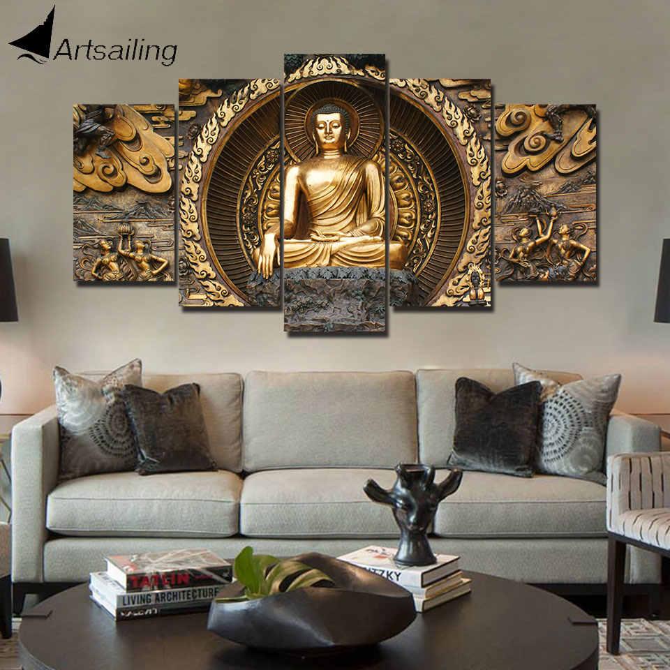 ArtSailing HD druck 5 stück leinwand kunst Goldenen abstrakte Malerei Buddha wandbilder für wohnzimmer poster hauptdekoration
