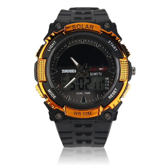 SKMEI Luxury Brand Solar Energy LED Digital watch Men Sport Silicone Watch Outdoor Military Double Display Outdoor Watch relogio