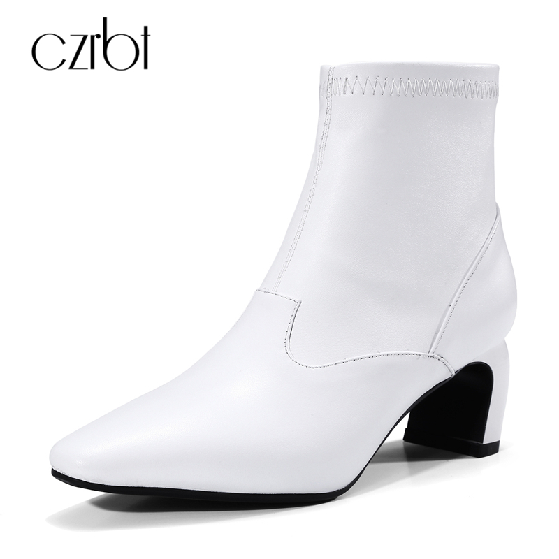 CZBRT Genuine Cow Leather Women Boots Women Spring Autumn Fashion Pointed Toe High Heel Stretch Boots Handmade Ankle Boots 34-39