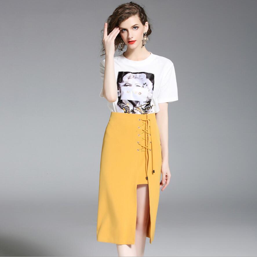 Mujeres Del Cordón Irregular Profesión Verano 2018 Color Nuevas Sólido Sexy Europa Falda Estados Mujer Unidos Casual 1qgg0xXYw