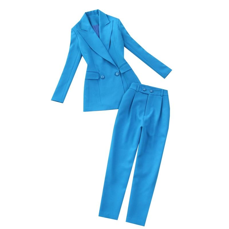Women's suit set 2019 spring and summer new women's pants suit large size Slim blue suit jacket high waist feet pants two piece