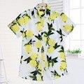 De Manga corta de Las Mujeres Camisas de Las Mujeres Florales Blusas Fruta Blusa de Las Señoras Tops Blusas Camisa Feminina Blusas de Algodón Para Niñas Vendimia 2017