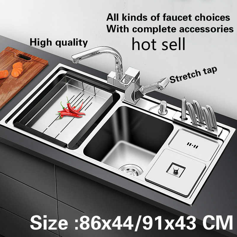 Free shipping 304 stainless steel standard kitchen sink 1 mm big double trough do the dishes  86x44 /91x43 CM