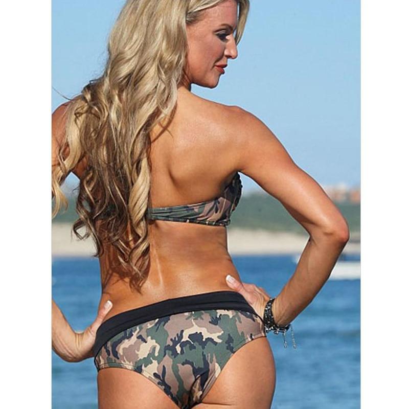 8bdaa678004a7 Camo Bandage Swimsuit Camouflage Bikinis Women Navy Bathing Suit Push Up  Swimwear 2017 Sexy Halter Army Green High Waist Biquini-in Bikinis Set from  Sports ...
