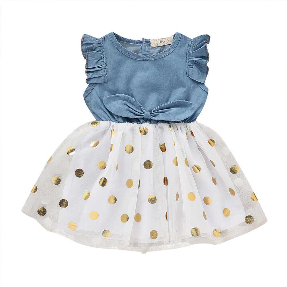 Fashion Kids Baby Girl Fly Sleeve Denim Patchwork Polka Dot Tutu Princess Girls Holiday Party Dress Sundress Clothes