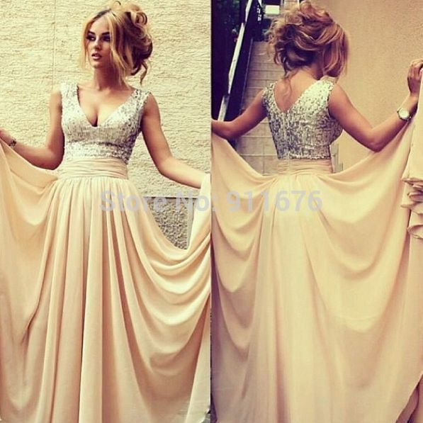 Best New Champagne Chiffon Long Sexy Spaghetti Strap V-neck Beading Natural Cocktail Dresses Party Formal Gown Ball Prom
