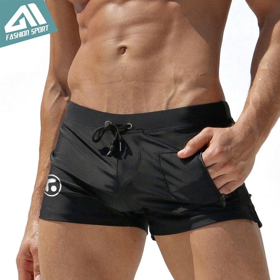 4c8a398d4f0f Nuevo traje de baño para hombre verano playa hombres pantalones cortos de  baño con bolsillo Sexy hombres traje de baño surf nadar pantalones cortos  ...