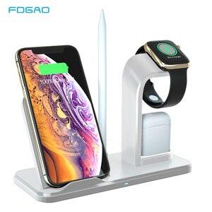 Image 1 - 3 en 1 10W chargeur rapide Qi chargeur sans fil pour Apple Watch 5 4 3 2 1 pour iPhone 11 XR XS Max X 8 Samsung S10 S9 S8 pour AirPods