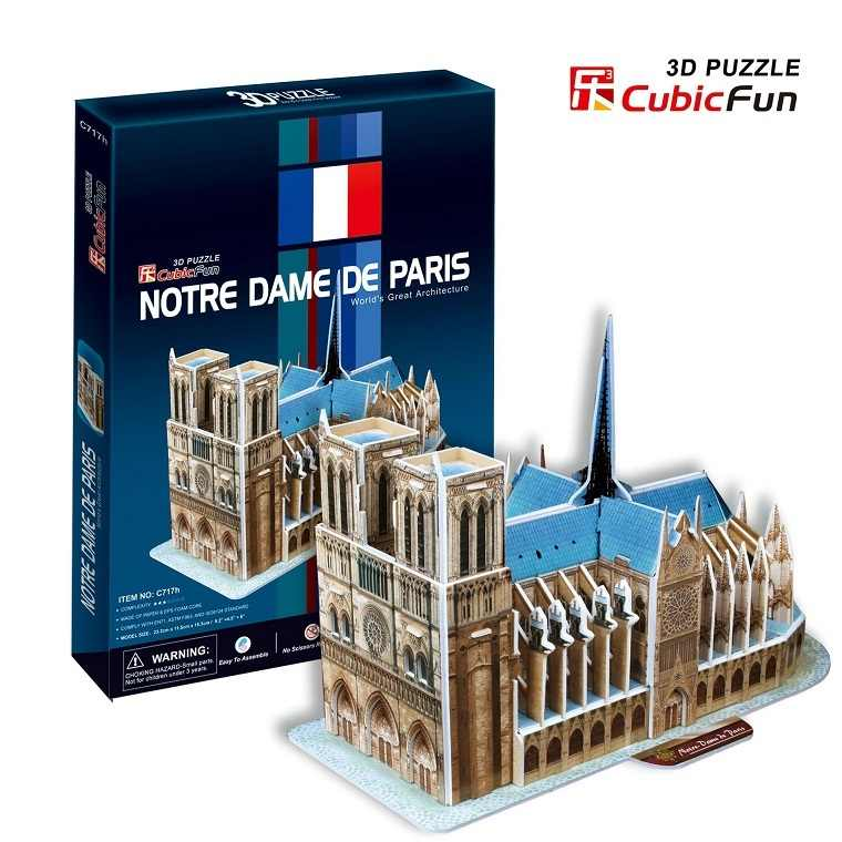 Model 3D mainan 3D model kertas jigsaw permainan Notre Dame cathedral c717h