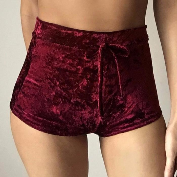 Velvet Drawstring Shorts Casual High Waist Spring Summer Sexy Skinny Short Pants 35