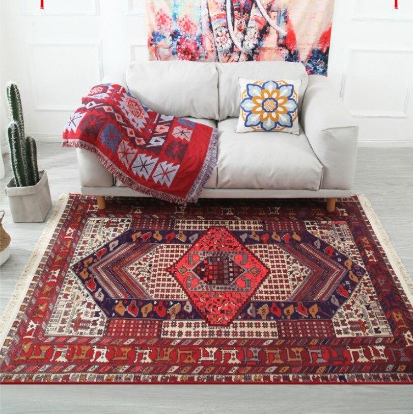 Tapis de glands à rayures géométriques nordiques marocains pour tapis de chambre à cinq personnes tapis de chambre antidérapant indien tapis de sol de chambre d'enfants