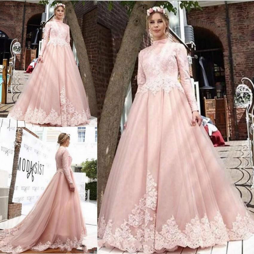 2019 Pink High Neck   Evening     Dress   Applique Long Sleeves Holiday Wear Pageant Prom Party Gown Custom Made Plus Size
