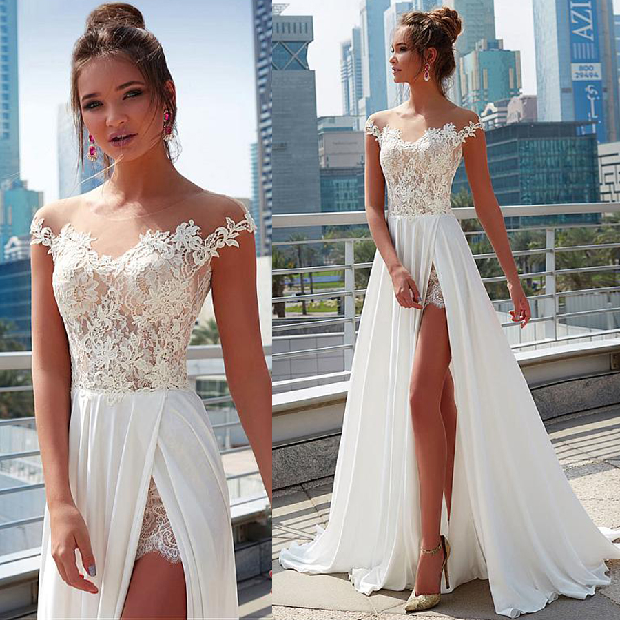 Charming Lace & Chiffon Sheer Jewel Neckline A-Line Wedding Dress With Lace Appliques Front Slit Beach Bridal Dress