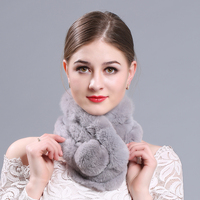 Rabbit Hair Scarf Three Tube Female Scarves Rex Rabbit Fur Genuine Fur Collar Ring Multi Color