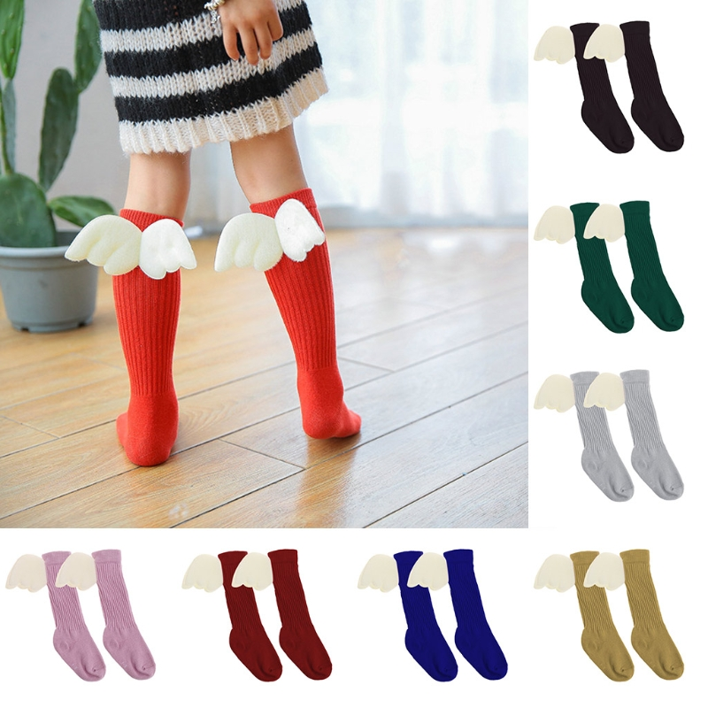 Toddler Baby Girls Ruffles Soft Knee High Leg Warmer Kids Angel Wings Socks