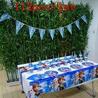 Disney Cartoon Frozen 112Pcs/Lot Disposable Tableware Sets Baby Shower Kid Birthday Party Decoration Wedding Celebration Supply