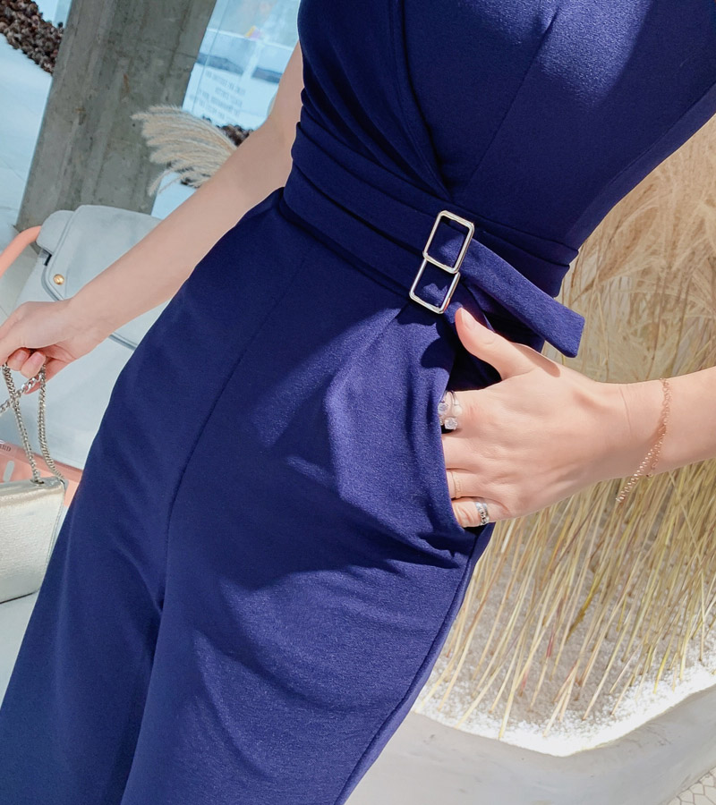 2019 Women High Street Jumpsuit Summer Party Polyester Overalls of Women Elegant Sapphire Blue Full Length Jumpsuits with Pocket