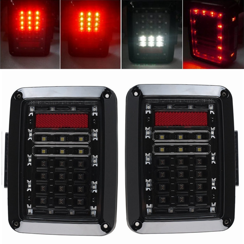 LED Tail Lights for 2007-2015 Jeep Wrangler Tail Light Brake Reverse Turn Singal Lamp Back Up Rear Parking Stop Light DRL car styling tail lights for toyota highlander 2015 led tail lamp rear trunk lamp cover drl signal brake reverse