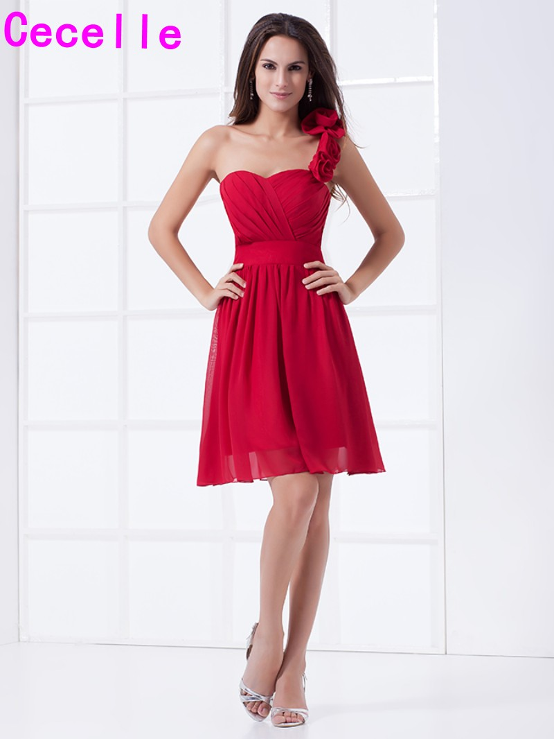 Summer Casual Red Short One Shoulder Chiffon Bridesmaids Dresses With Straps Dark Red Wedding party Dresses On Sale Cheap