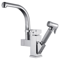 Luxury Pull Out Spray Kitchen Faucet Removable Mixer 2 Function Tap Deck Mounted Chrome Finish 5