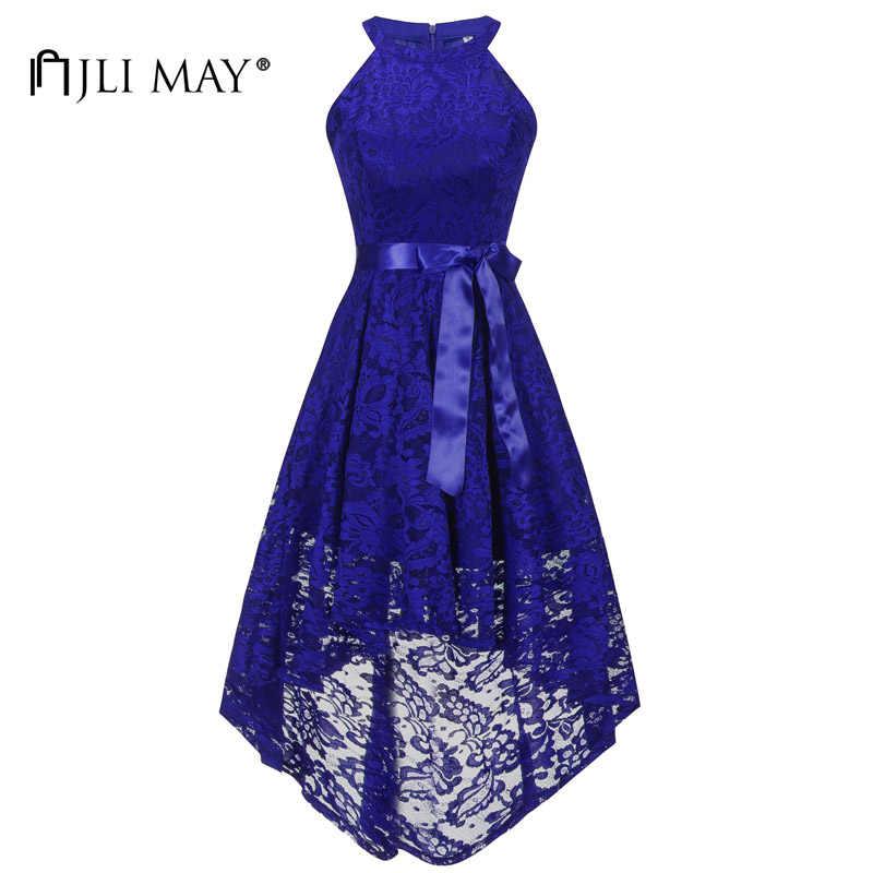 JLI MAY Vintage halter lace long party dress women bow sleeveless  Asymmetrical elegant retro wedding evening f90c41f8b7fd