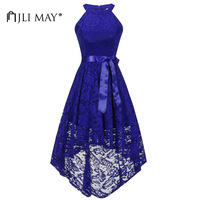 JLI MAY Vintage halter lace long party dress women bow sleeveless Asymmetrical elegant retro wedding evening summer clothing