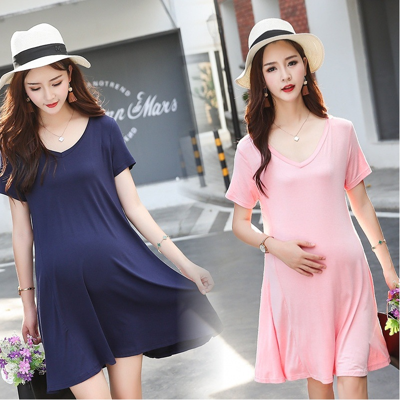 2018 Simple Plain Straight Nursing Dresses for Pregnant Women Clothing Modal Short Sleeve Maternity Dress Clothing