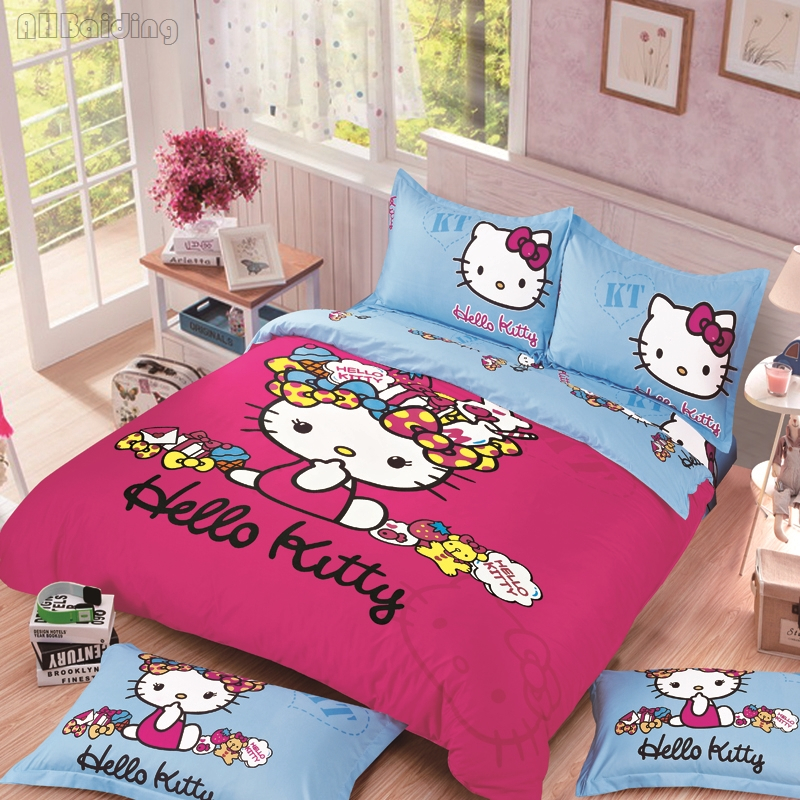 Home Textile Hello Kitty Bedding Set Children Cotton Bed Linen Cartoon Doraemon/Stitch/Pikachu Bedclothes Twin Full Queen Size