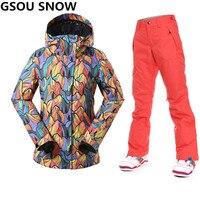 Gsou Snow Professional лыжный костюм Женская лыжная куртка женская зимняя непромокаемая сноубордическая брюки + лыжная куртка для катания на лыжах