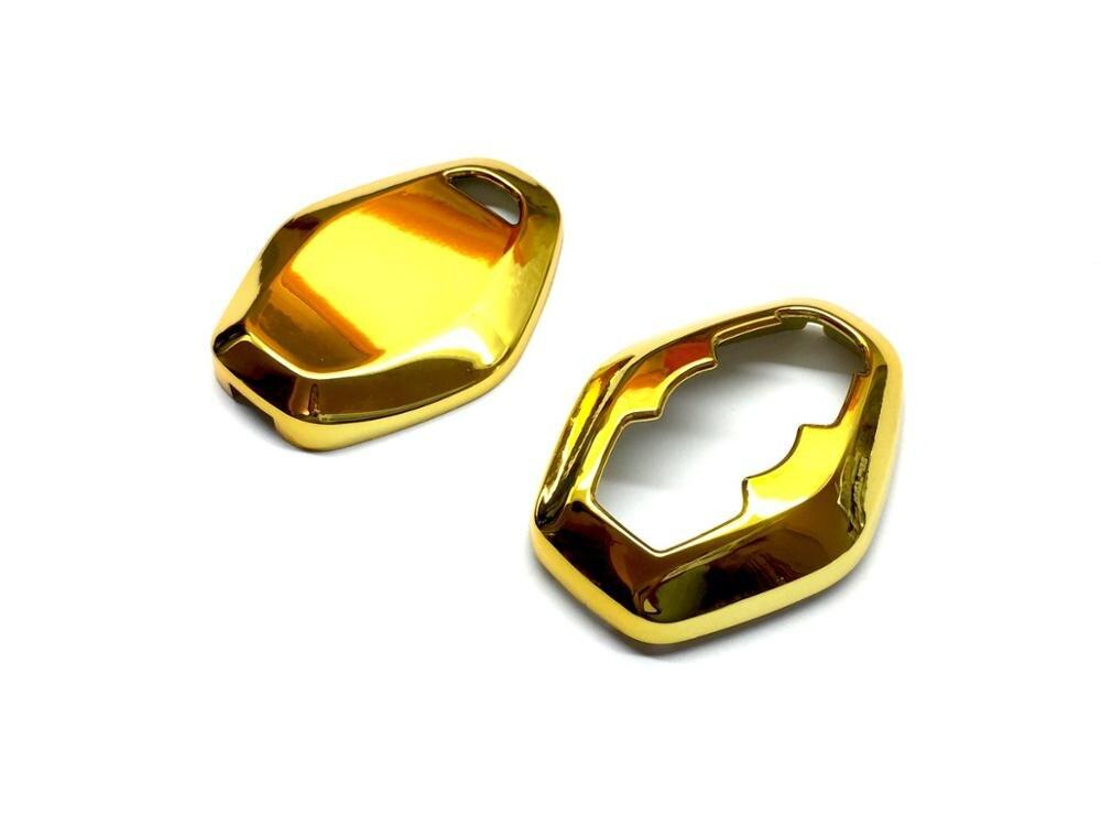 Жесткий пластиковый глянцевый разноцветный БЕСКЛЮЧЕВОЙ дистанционный защитный чехол для ключа КРЫШКА ДЛЯ BMW Алмазный дистанционный ключ E46 E39 E38 Z3 Z4 E83 E53 - Название цвета: Gold Chrome
