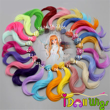 One Piece 15*100cm Yellow Blue Pink Green Big Wave Hair Wefts for BJD/SD/Blyth/American Doll DIY Wigs Good Quality цена