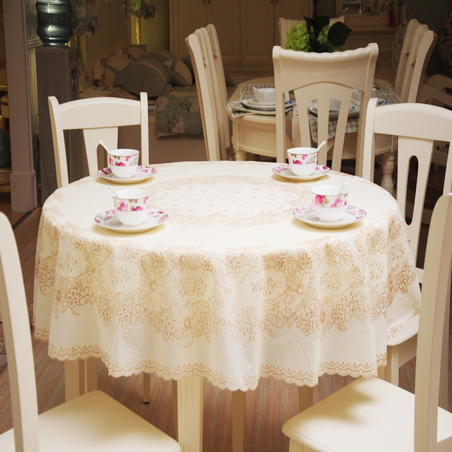 180x180cm Printing Lace Tablecloth PVC Round Tablecloth Rural Style  Thickening Round Table Cloth Waterproof And Oil