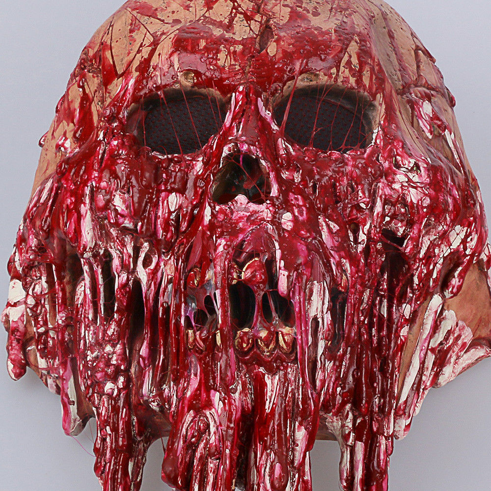 Halloween Scary Adults Men Bloody Zombie Skeleton Face Mask Costume Horror Latex Masks Cosplay Fancy Masquerade Props 4