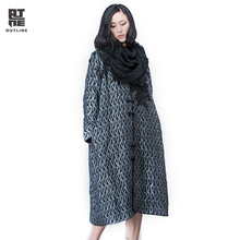 Outline Brand Women Autumn Winter Trench With Vintage Original Design Button Lace Casual Coat In Loose Thicken Coat L164Y022