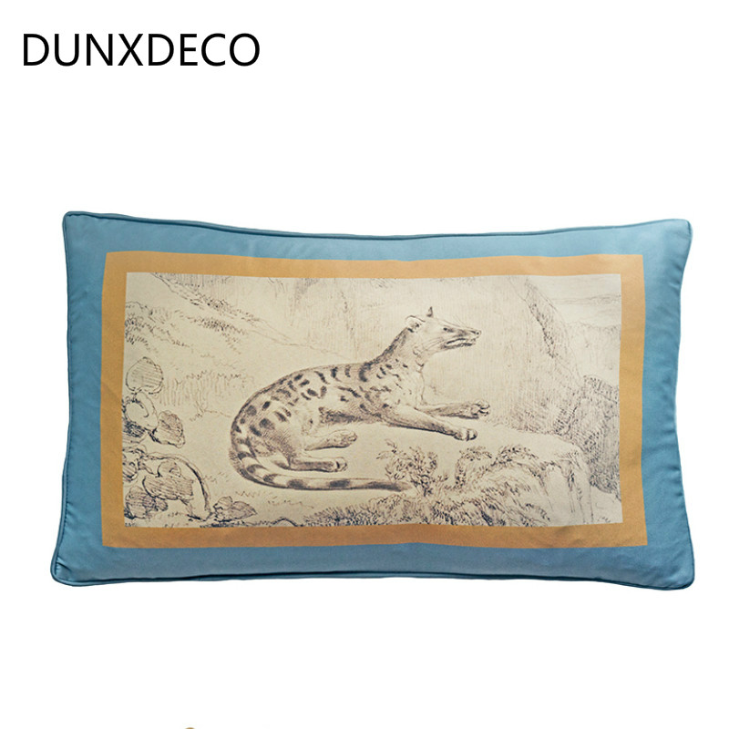 DUNXDECO Cushion Cover Decorative Waist Pillow Case