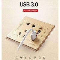 Smart Power Socket Plug Muur jack Stekkers Sockets met Schakelaars met 3.0 USB 2100mA 5 v outlet wit Champagne kleur